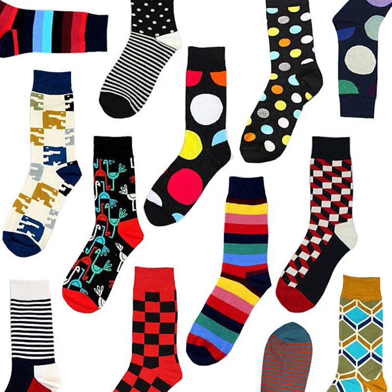 Men Happy Funny Socks Geometric Stripe Square Dot Colorful Personality Male Korea Street Harajuku Hip Hop Socks Autumn Winter