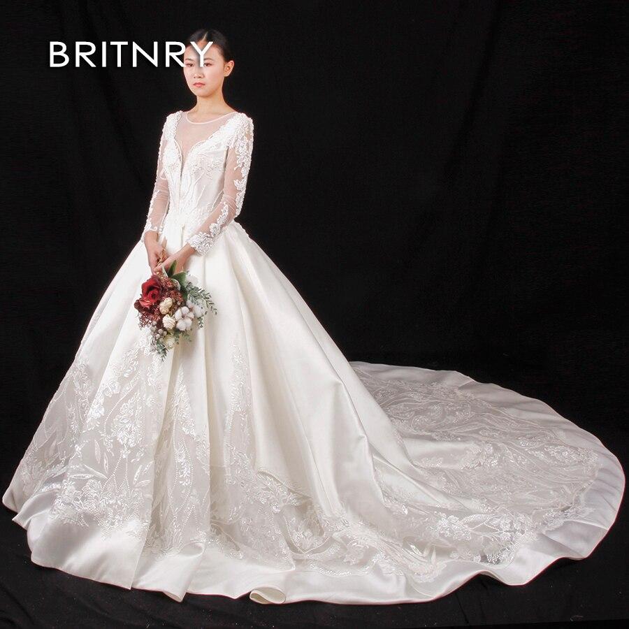 6e740d1f9026b88 ... свадебные платья; Vestido De Noiva · BRITNRY/хит продаж 2019 года;  роскошное свадебное платье с длинными рукавами и аппликацией;