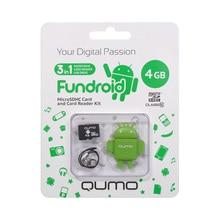 Комплект QUMO QM4GCR-MSD10-FD-GRN microSDHC 4GB + USB картридер