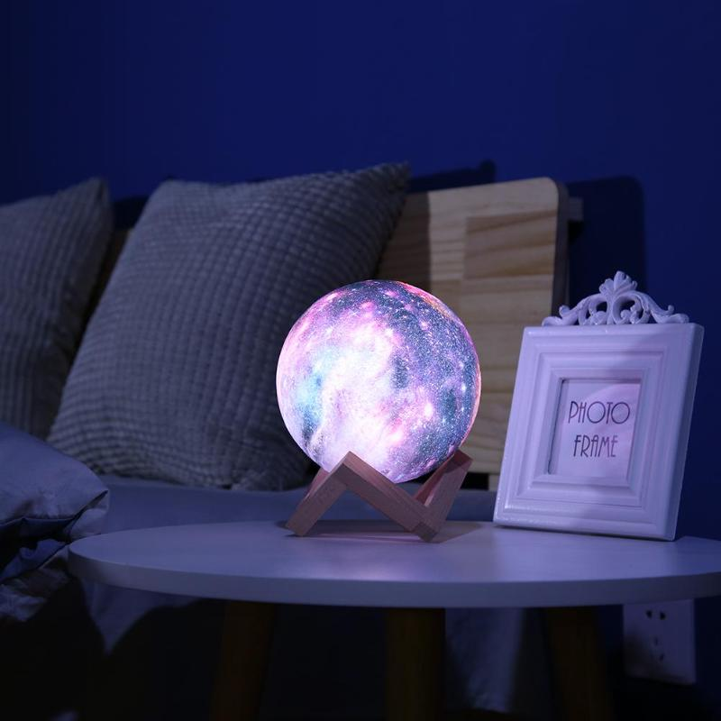 3D Starry Sky Star Moon Lamp LED Night Light Colorful 7 Color Changing Touch Switch Night Light Home Decor With Wooden Holder