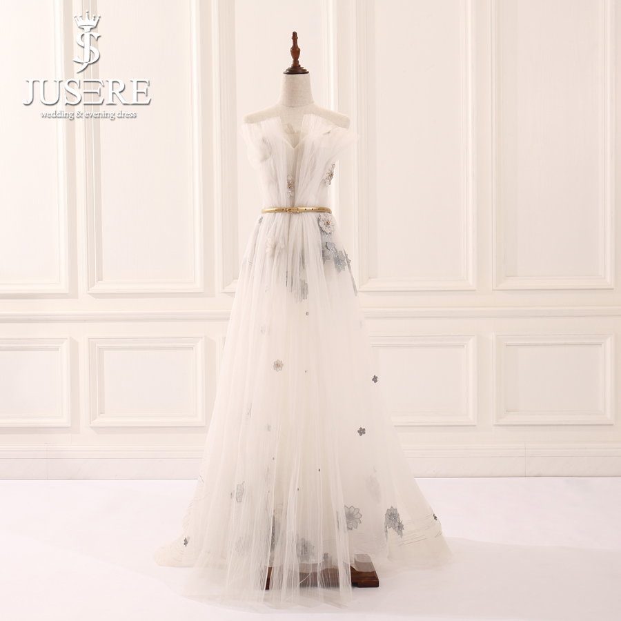 Jusere 2018 Stock Cheap Illusion Beaded Floor Length Evening Dresses Pleat Off Shoulder A Line Prom Party GownEvening Dresses   -