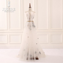 Jusere 2018 Stock Cheap Illusion Beaded Floor Length Evening Dresses Pleat Off Shoulder A Line Prom Party Gown