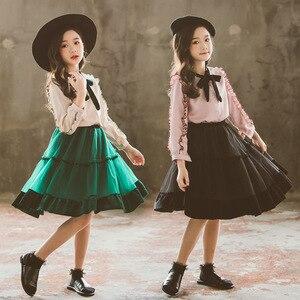 Image 3 - Princesa terciopelo gasa 2 uds conjunto de edad para niñas adolescentes de 4 14 años ropa de primavera Blusa de manga larga + falda conjuntos escolares para Niñas Grandes
