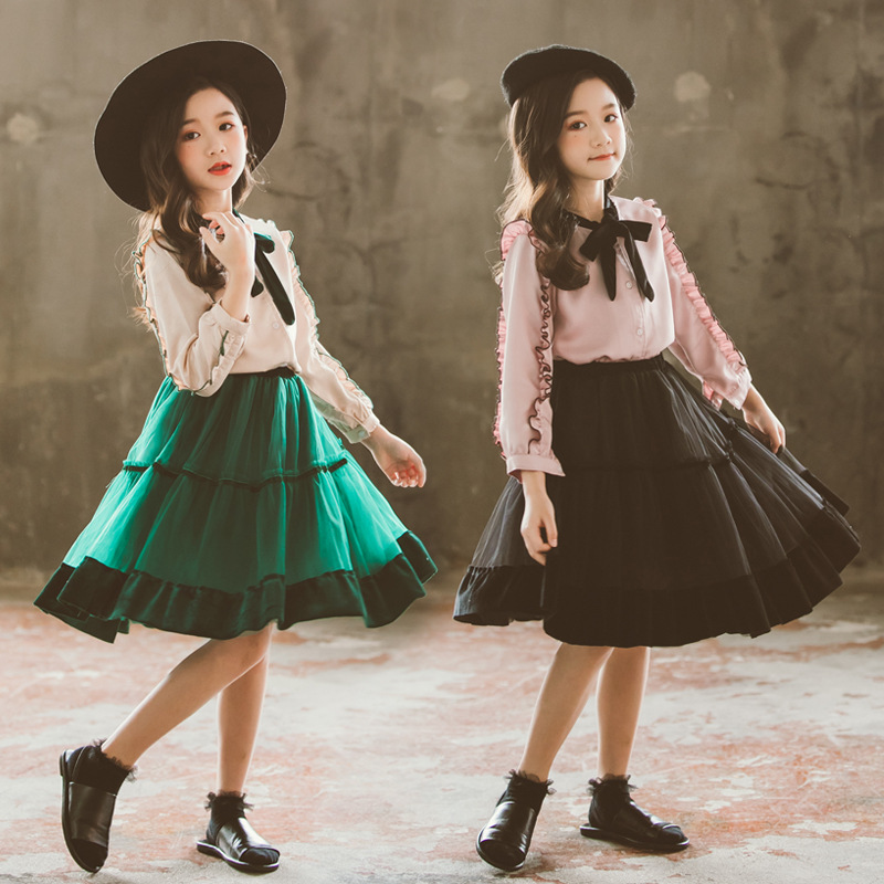 Image 3 - princess velvet chiffon 2 pcs set age for 4 14 yrs teenage girls spring clothes long sleeve blouse+skirt big girl school outfits-in Clothing Sets from Mother & Kids