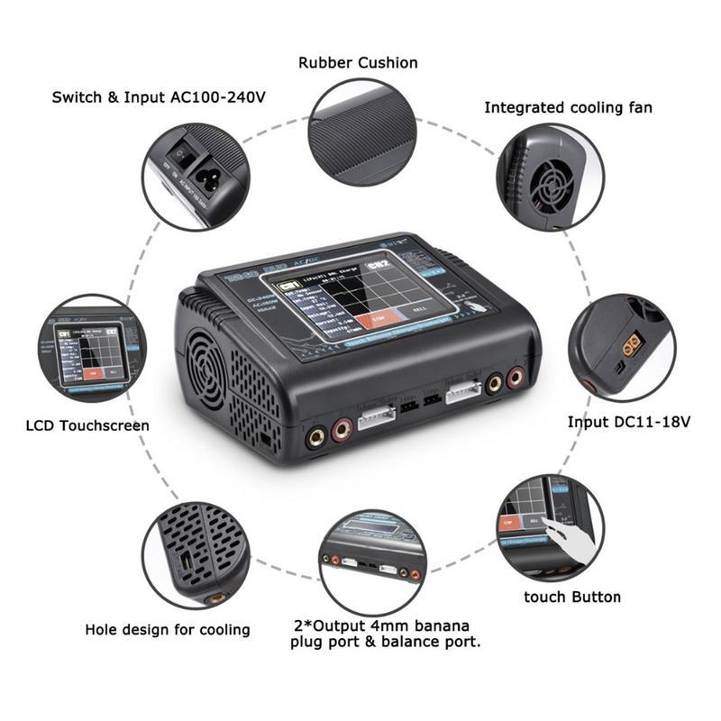 Nouveau chargeur RC Lipo HTRC T240 DUO AC 150 W/DC 240 W écran tactile double Balance chargeur pour LiPo LiHV Lilon NiCd NiMh Pb batterie - 3