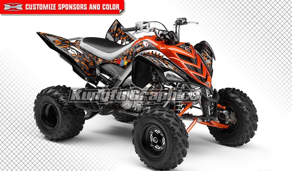 KUNGFU GRAPHICS Full Coverage ATV Decals Stickers Kit Vehicle Wrap For Yamaha Raptor 700 2006 2007 2008 2009 2010 2011 2012
