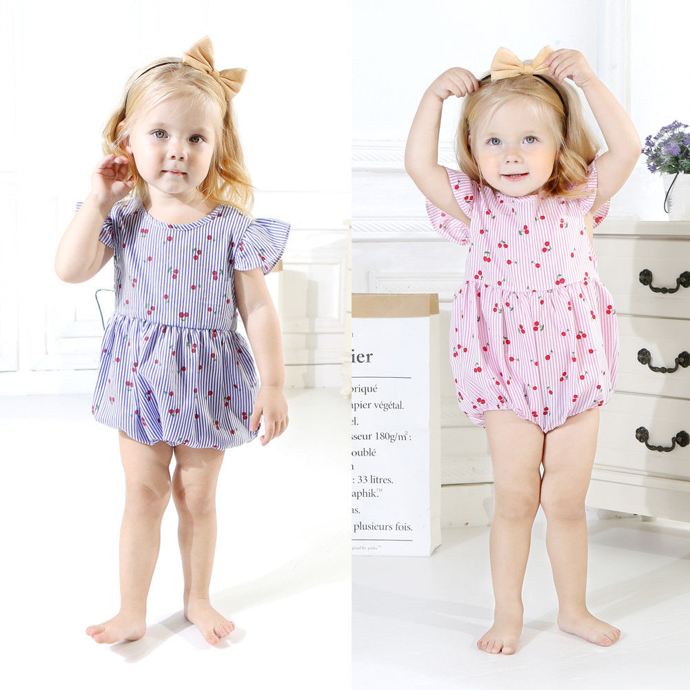 Analytical Toddler Baby Girls Cotton Striped Cherry Romper Baby Girl Clothes Baby Rompers Playsuit Outfits 0-18 M
