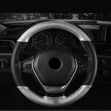 цена на Anti-Slip Car Steering Wheel Cover 38cm DIY Braid Needles And Thread Soft Artificial Leather Auto Car Steering Wheel Covers