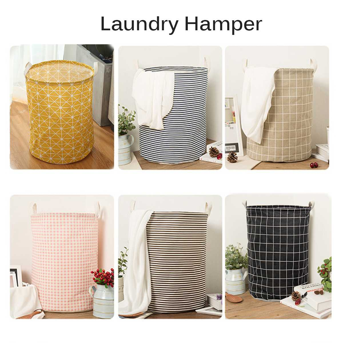 Foldable Clothes Laundry Basket Hamper Canvas Cotton Linen Storage Organizer Bag Large Gift Box Home Sundries Picnic Basket Toy