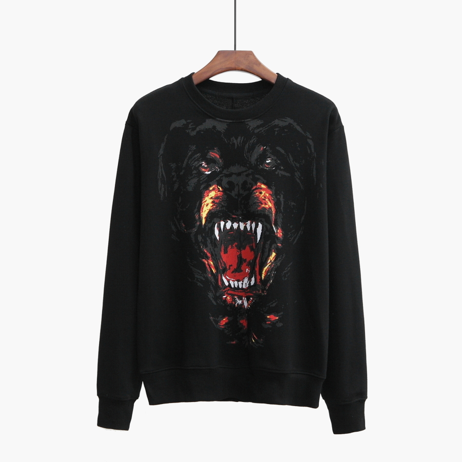 Jumper Sweatshirts Tee-Cotton Dog-Print Black-Color Autumn Designer New-Fashion for Men