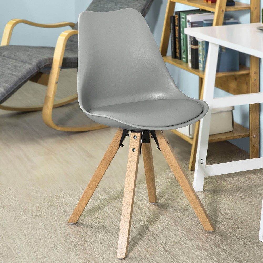 accent kitchen chair dining chair with pu leather seat solid wood swivel function SoBuy FST59-HG, Dining Chair Kitchen Chair Office Chair, Natural Solid Wood Legs with Cushioned Seat