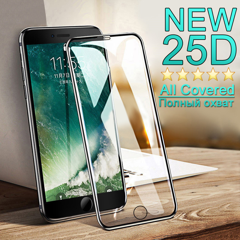 25D Protective Glass on For iphone 7 6 6S 8 Plus X XS Ultra thin full cover Glass For iPhone 7 screen protector Tempered glass-in Phone Screen Protectors from Cellphones & Telecommunications