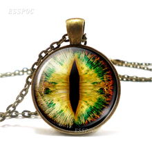 Fiery Dragon Eye Necklace Retro Chain Steampunk Green Blue Pendant Necklace Glass Cabochon Pendant Jewelry Gift for Gamer 2019 cute owl pendant and necklace tricolor long chain necklace retro glass cabochon gift ornament necklace