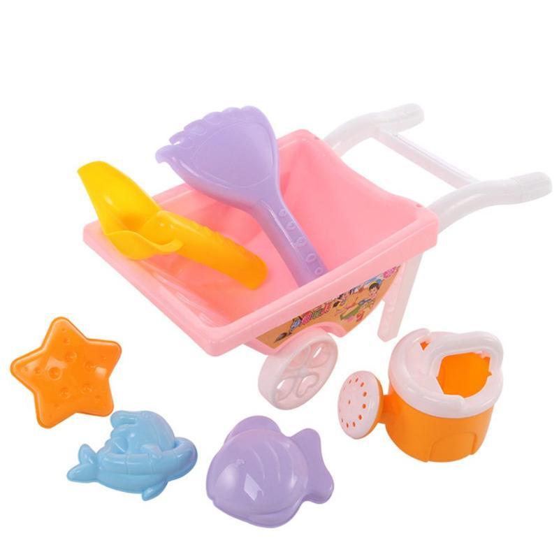 7pcs/Net Bag Beach Toy Trolley Child Kids Summer Beach Play Sand Toys Water Fun Beach Play Sand Tools Random Color
