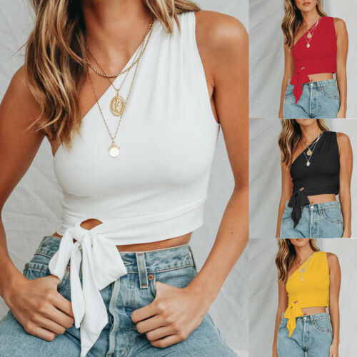 2019 New Women Sexy Slim Single Shoulder   Tank     Tops   Casual Crop   Top   Sleevless   Tank