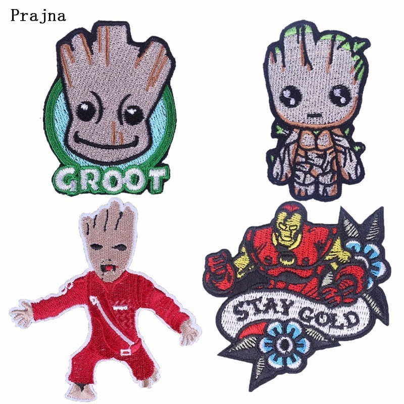 Prajna Tree Man Groot Cartoon Patches Stay Gold Embroidered Sewing Ironing Patch For Clothing DIY Red Garment Accessory Hippie H in Patches from Home Garden