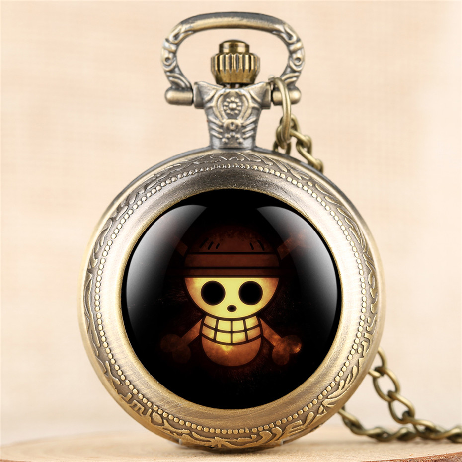 Classic Anime One Piece Theme Quartz Pocket Watch Exquisite Necklace Clock Gifts For Kids Boys Girls Pendant Watch