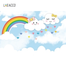 Laeacco Cartoon Rinbow Cloudy Heart Poster Backdrop Photography Backgrounds Customized Photographic For Photo Studio