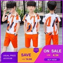купить Baby Boy Summer Clothes Set For Toddler Kids Clothing Cartoon Printed Short Sleeve T-shirt + Pants Boy Suit по цене 266.39 рублей