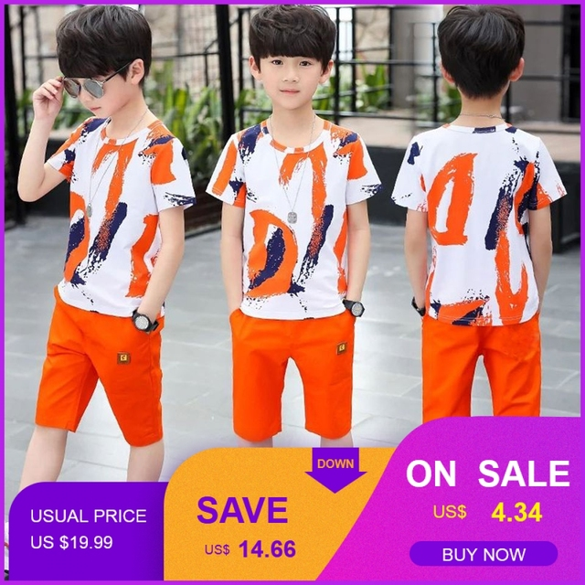 Baby Boy Summer Clothes Set For Toddler Kids Clothing Cartoon Printed Short Sleeve T-shirt + Pants Boy Suit