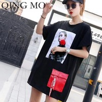 QING MO Character Printing T Shirt Women Sequin Short Sleeve T Shirt Dress with Red Pockets Loose Hip Hop T Shirt Tops ZLDM046