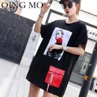 QING MO Character Printing T Shirt Women Sequin Short Sleeve T Shirt Dress with Red Pockets Loose Hip Hop T Shirt Tops ZLDM046