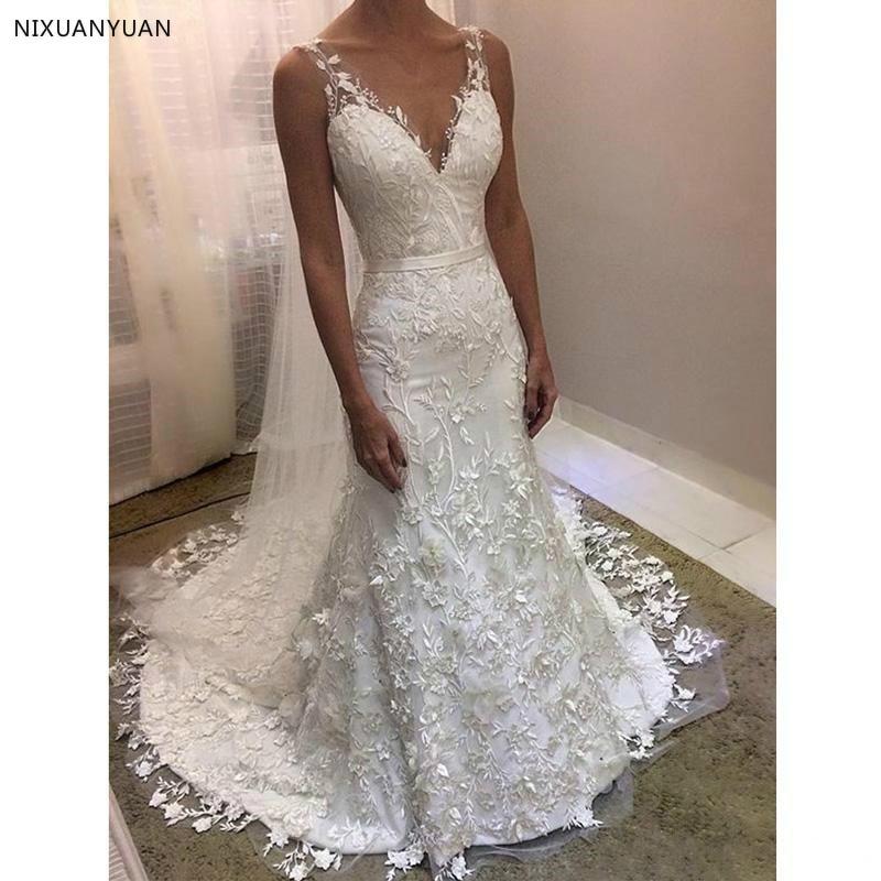 Modest White Lace Mermaid Wedding Dresses V-neck Backless 3D Flower Bead Vestido De Noiva Sweep Train Bridal Dress Wedding Gowns