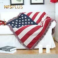 Gebreide Sofa Gooi Deken 130x180 cm USA Vlag Ontwerp Home Decoratieve Katoen Doek Bed Spread Bank Bekledingen Quilt vloer Tapijt