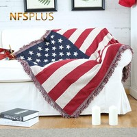 Knitted Sofa Throw Blanket 130x180cm USA Flag Design Home Decorative Cotton Cloth Bed Spread Couch Coverings Quilt Floor Carpet
