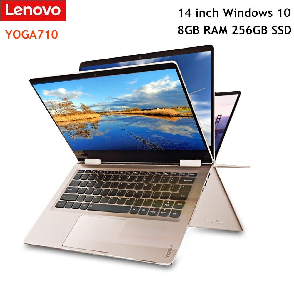 Ordinateur portable Lenovo YOGA710 14 pouces 1920x1080 Windows 10 double noyau 8 GB RAM 256 GB SSD HDMI Bluetooth 2.4 GHz/5.0 GHz ordinateur portable WiFi