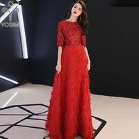 YOSIMI 2019 Evening Party Dress Summer O neck Short Sleeve Elegant A line Maxi Long Noble Slim Women Dresses Sequin Embroidery