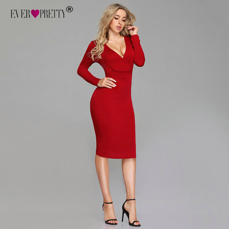 Sexy Red   Cocktail     Dresses   2018 Ever Pretty Long Sleeve Winter Style Formal   Dress   Mermaid Knee Length Cheap Vestido Coctel Corto