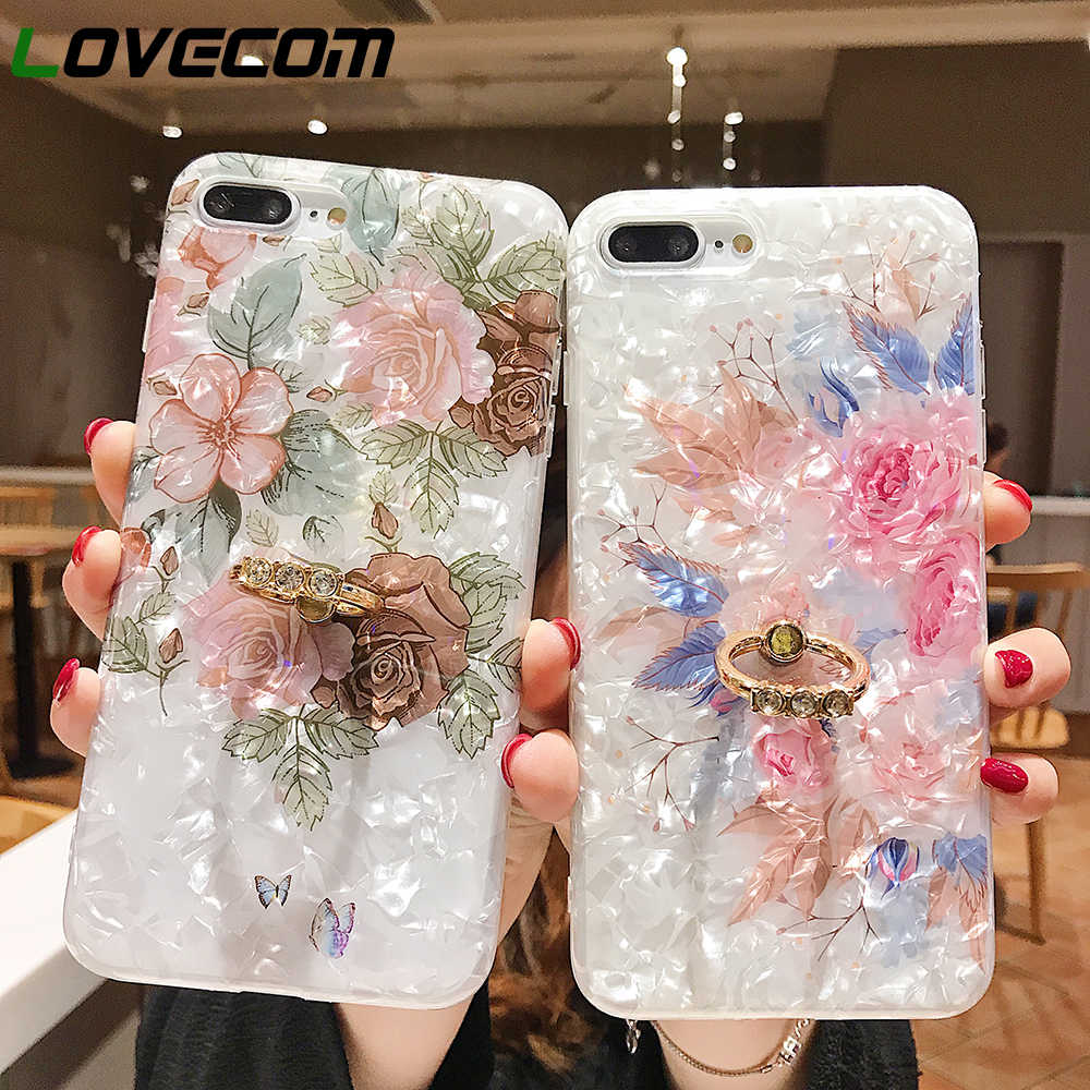 LOVECOM Luxe Shell Textuur Bloem Case Voor iPhone XR XS Max X 8 7 Plus 6S Plus Zachte IMD vinger Ring Crystal Telefoon Back Cover
