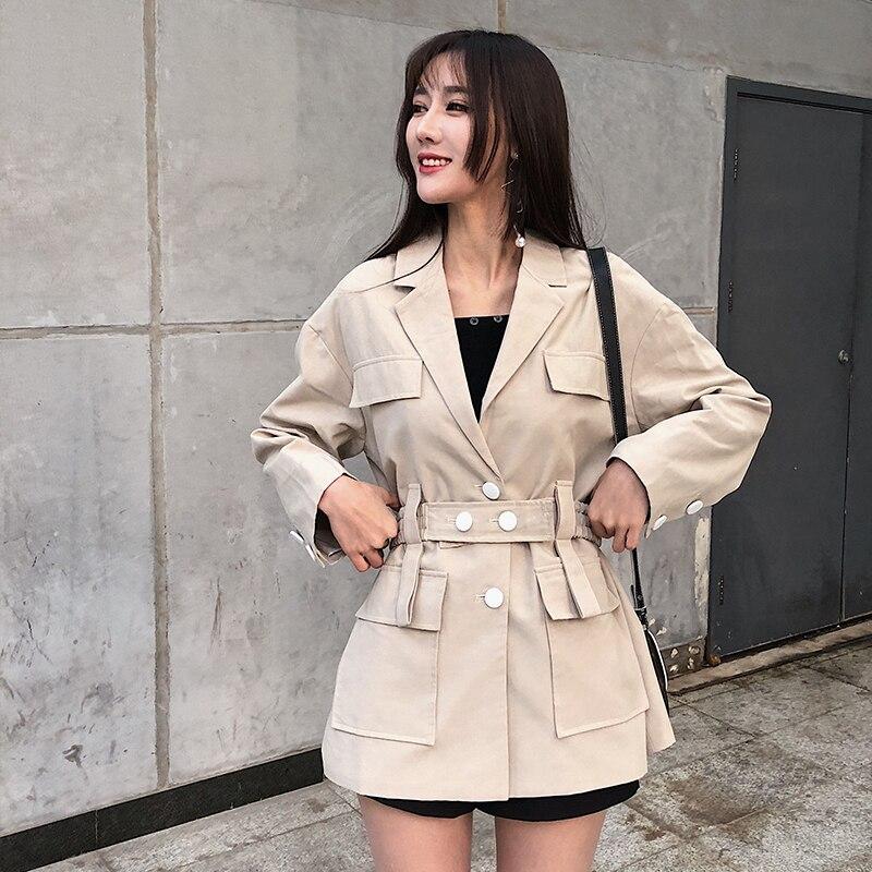 Styles Femmes Coupe Shengpalae Femelle Coréens Manteau vent down 2019 Ceinture Col Turn Veste Beige Manches Printemps Avec À Longues Nouveaux Lâche Hd222 qqAEI