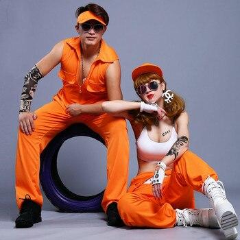 #0114 Summer Harem Hip Hop Pants Men Women Dance Stage Performance Cargo Jumpsuit Men Overalls Zipper Orange Plus Size Loose