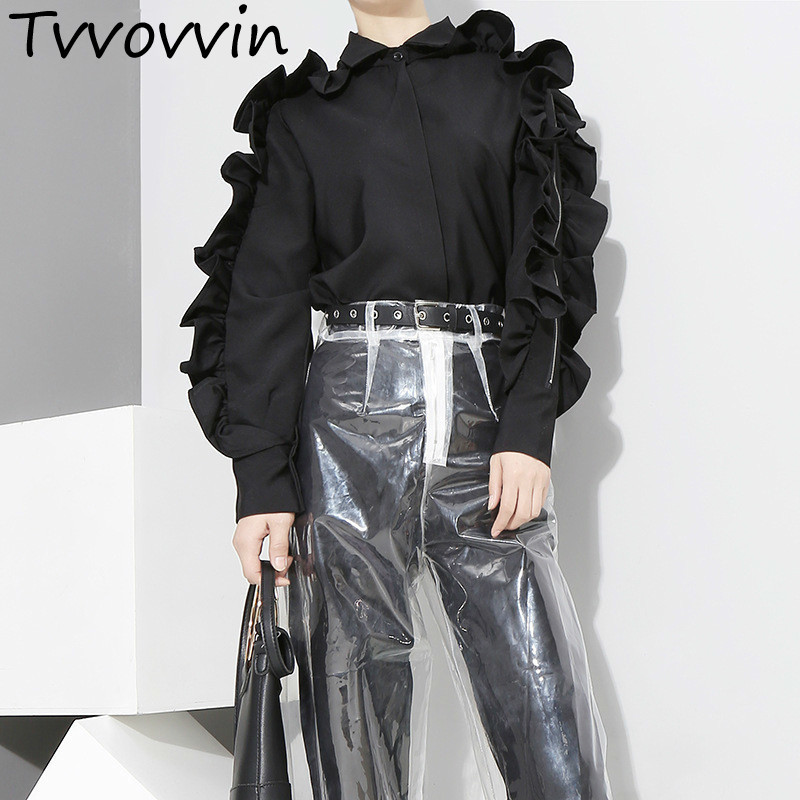 Women's Clothing Alert Tvvovvin 2019 Autumnfashion New Pattern Korean Solid Color Ruffles Side Long Sleeve Zipper Black White Shirt Tops Woman E073 Customers First