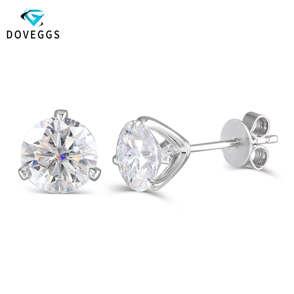 DovEggs 14K White Gold 2CTW 6 5MM F Color Round Brilliant Lab Grown Moissanite Earring Stud Push Back for Women Fine Jewelry in Earrings from Jewelry Accessories