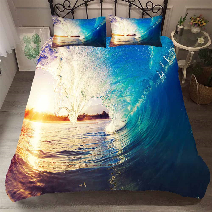 Bedding Set 3D Printed Duvet Cover Bed Set Beach Sea Wave Home Textiles For Adults Bedclothes With Pillowcase HL35