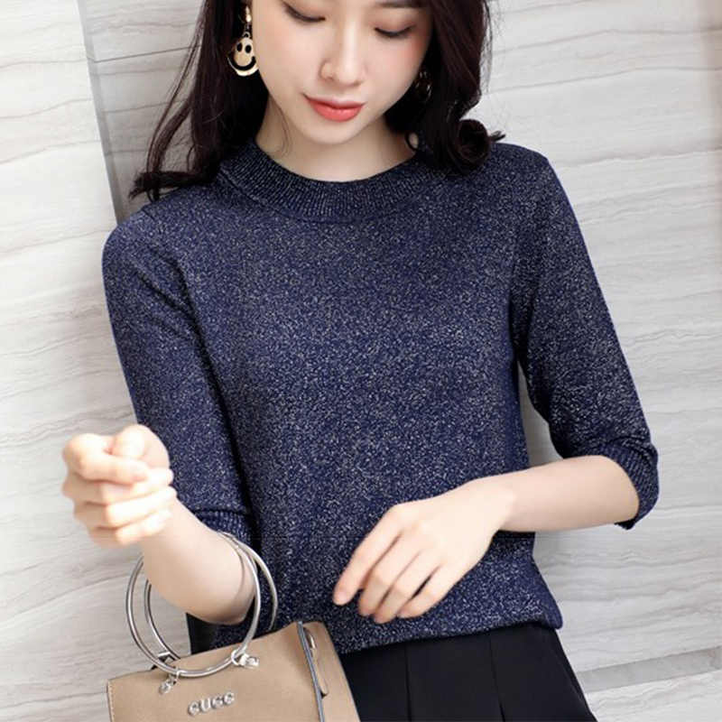 c6b10f4dc5e ... Spring Autumn Shiny Lurex Knit Sweater Women Cropped Short Sleeve  Fashion Women Sweaters And Pullovers O ...