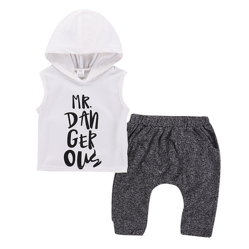 Newborn Kid Boys Summer Soft Playsuit Cute Toddler Kids Baby Boy Hooded Vest Tops Short Pants 2pcs Outfits Clothes Set in Clothing Sets from Mother Kids