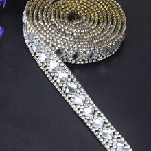 Silver Rhinestone Ribbon Beaded Iron On Applique Trim Bridal Embellishments  Rhinestone Ribbon clothes shoes decoration( c924cdc764b6
