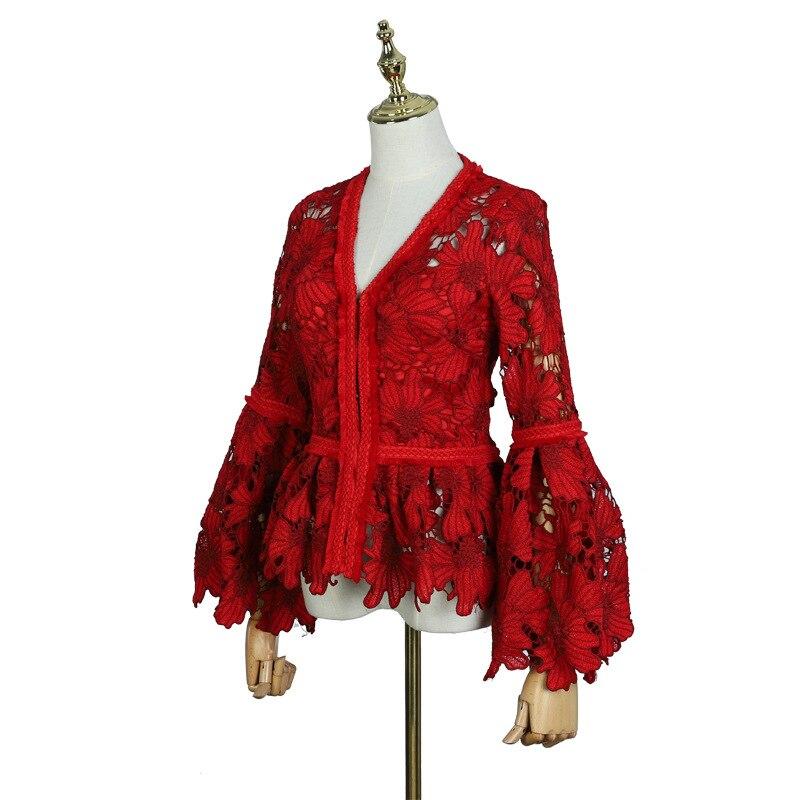 IRINAY550 2019 коллекция ss новое поступление с короткими рукавами с длинными кисточками кружевная рубашка для женщин - 3