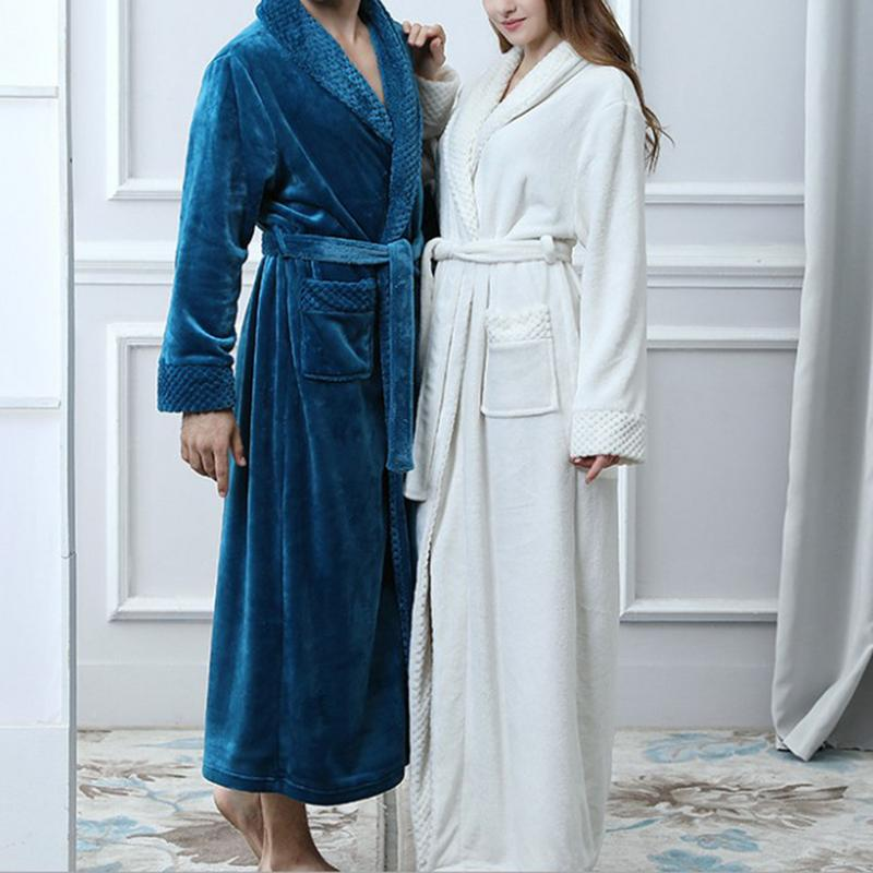 New Autumn Winter Flannel Splicing Nightgown Long Pajamas Bathroom Bathrobe For Men And Women