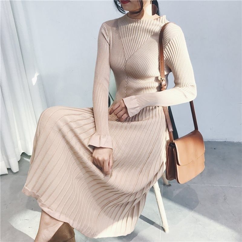Spring O-Neck Mid-Calf Dresses Women Butterfly Sleeve A-Line Dresses Casual Female Pleated Elastic Knitted Dress Vestidos