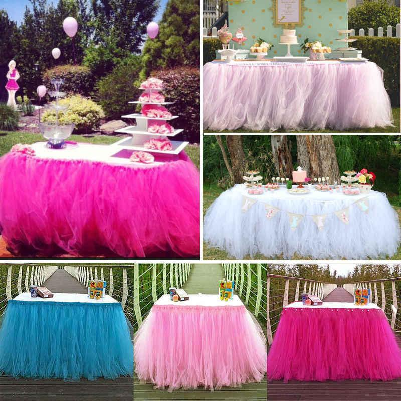 ffc6d6299 Tul princesa tutú faldas de mesa para boda fiesta cumpleaños decoración  Baby Shower fiesta boda Mesa falda textil para el hogar