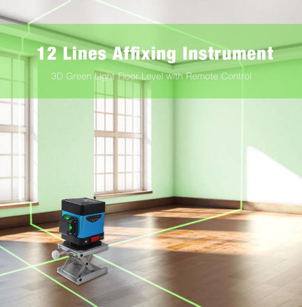 12 линий Affixing инструмент 3D зеленый свет пол Уровень Высокой Точности плоский блики плитка наземной линии умный пульт дистанционного управле