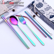 BalleenShiny 3/5pcs/set Tableware Set with Cloth Bags Stainless Steel Kitchen Accessories Dinnerware Outdoor Portable