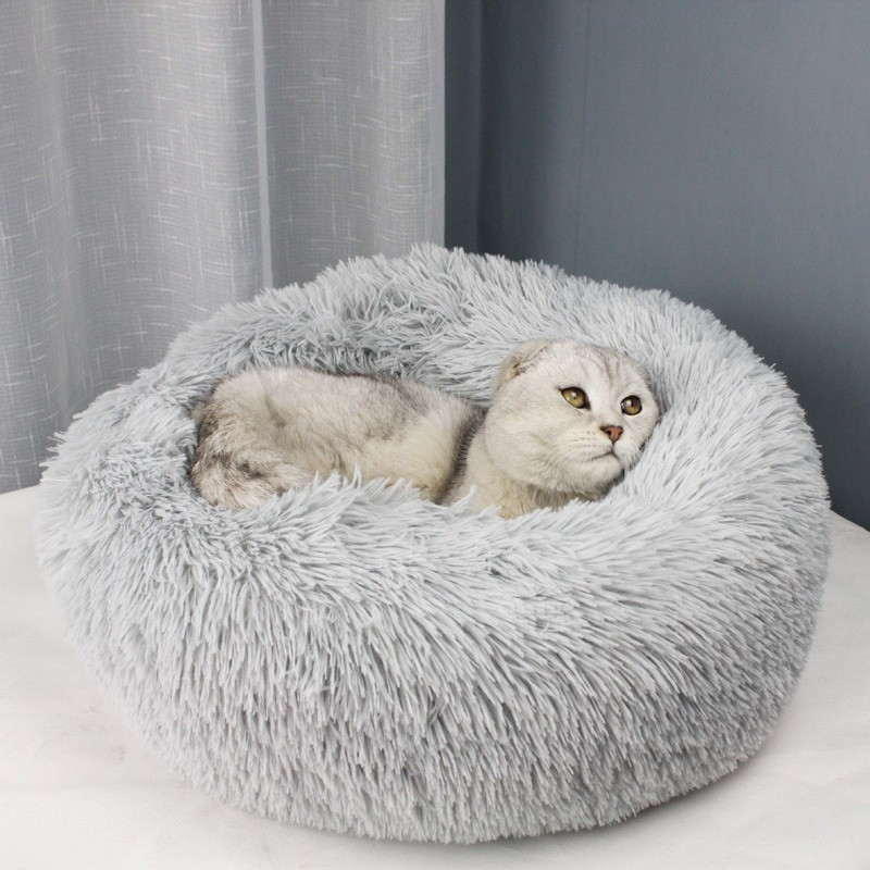 50cm 70cm Long Plush Super Soft Pet Bed Kennel Dog Round Cat Winter Warm Sleeping Bag Puppy Cushion Mat Portable Cat Supplies in Cat Beds Mats from Home Garden
