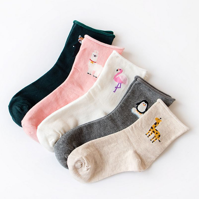 Adjustable Tiger Sheep Free Size Pregnant Woman Anomal Giraffe   Socks   Soft Student Cute Comfortable Elastic Warm Cotton 1Pair