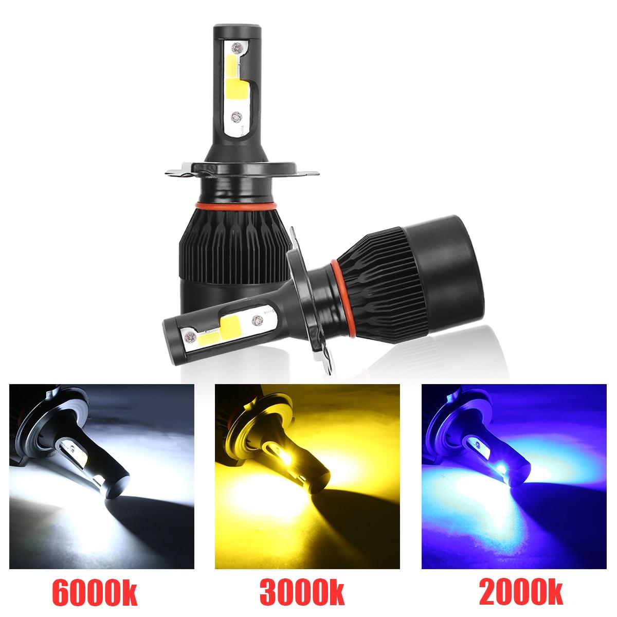 1 Pair LED H4 COB LED Headlight Bulbs 250W 25000LM Car LED Lamp 2000K Blue 3000K Yellow 6000K White Fog Lamp